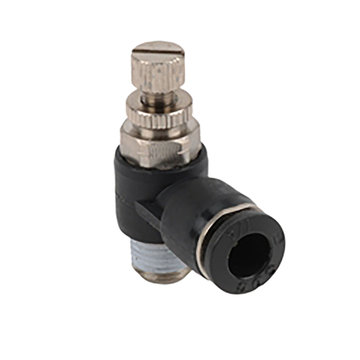 View larger image of 1/8 NPT Male to 1/4 Tube, Elbow Meter-Out Flow Valve